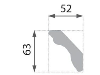 B-35 S Profillist mønster 52x63mm Sølv
