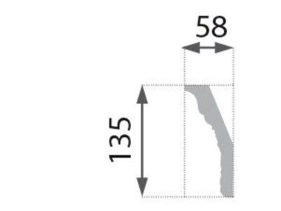 B-36 G Profillist mønster 58x135mm Gyllen.